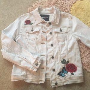 Distressed Limited Too white denim jacket